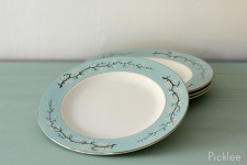 Powder Blue & White Vintage Twig Dishes [set of 4]