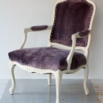 Eggplant Chenille Louis XV Arm Chair