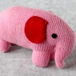Handmde Pink Stuffed Elephant