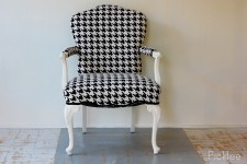 Black + White Houndstooth Louis XV Arm Chair