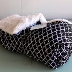 Handmade Plush White & Black Medallion Children's Blanket