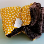 Handmade Brown Faux Fur & Yellow Polka Dot Children's Blanket