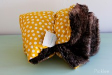Handmade Brown Faux Fur & Yellow Polka Dot Children's Blanket
