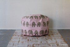 Handmade Bean Bag Pouf [Pink + Gray Elephant]
