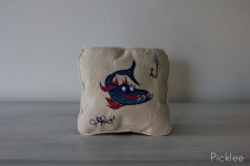"Hand Painted ""Shark Bate"" Childrens Pillow by Jennifer Rashleigh"