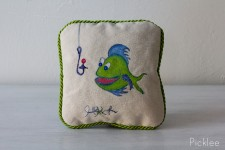 "Hand Painted ""Fish Bait"" Childrens Pillow [Green Fish]"