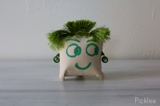 "Hand Painted ""Uh Oh"" Funky Face Pillow by Jennifer Rashleigh"