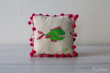 "Hand Painted ""Hungry Fish"" Childrens Fish Pillow by Jennifer Rashleigh"