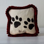 Hand painted Petite Paw Print Pillow by Jennifer Rashleigh