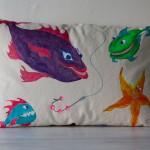 "Hand Painted Childrens ""Under the Sea"" Pillow [fish + starfish]"