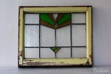 Antique Stained Glass Window [yellow + green rays]