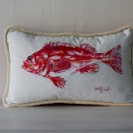 Hand Painted Red Fish Pillow