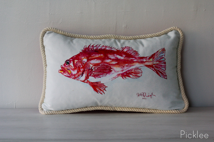 Hand painted red fish pillow picklee on spring for Fish body pillow