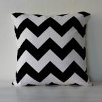 Black + White Chevron Down Filled Pillow
