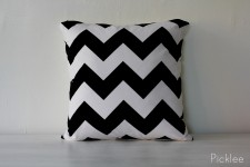 Black + White Chevron Down Filled Pillow