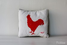 Rhode Island Red Rooster Printed Pillow by Jennifer Rashleigh
