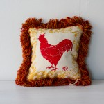 Hand Painted Rhode Island Red Rooster Pillow