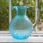 Blue Bubble Glass Pitcher