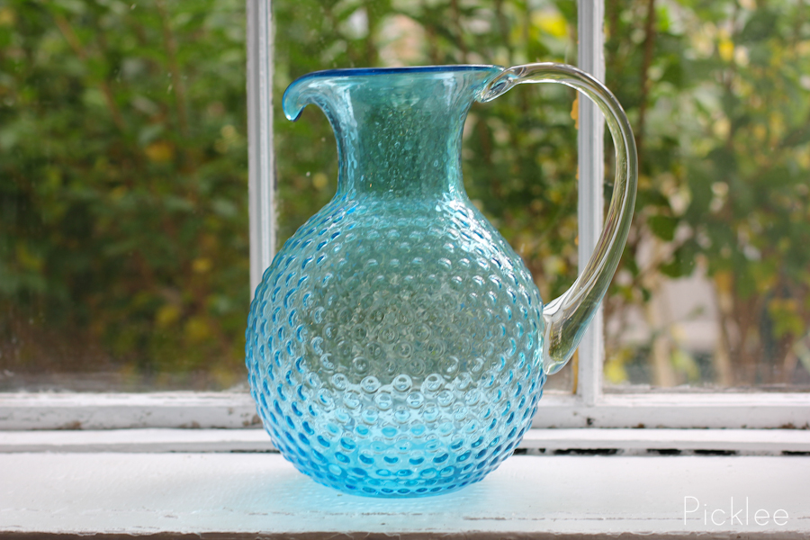 Blue Bubble Glass Pitcher Picklee On Spring