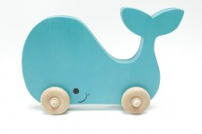 Childrens Wooden Whale Push Toy