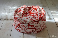Handmade Bean Bag Pouf [Red + White Horse]