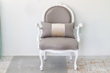 French White + Linen Flax Louis Chair