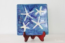 Handmade Ceramic Starfish Platter, Sea Blue
