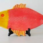 Handmade Ceramic Fish Platter, Orange + Yellow [Large]