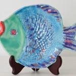 Handmade Ceramic Fish Platter, Blue + Green [small]