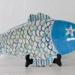 Handmade Ceramic Fish Platter, Blue + Cream [Large]