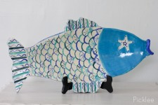 Handmade Ceramic Fish Platter, Blue + Cream [Large]