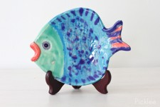 Handmade Ceramic Fish Platter, Blue + Green [small]