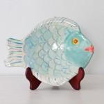 Handmade Ceramic Fish Platter, Aqua + Cream [Med-Small]