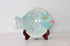 Handmade Ceramic Fish Platter, Aqua + Cream [Med-Small]