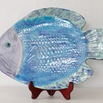 Handmade Ceramic Fish Platter, Blue + Green Flounder [Large]