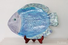 Handmade Ceramic Fish Platter, Blue + Green Flounder [Large]