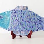 Handmade Ceramic FIsh Platter, Blue + Periwinkle [Large]
