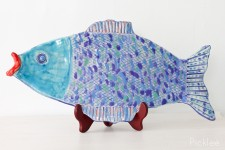 Handmade Ceramic FIsh Platter, Blue + Periwinkle [Large]