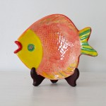 Handmade Ceramic Fish Platter, Orange + Yellow + Green [small]
