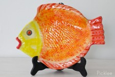 Handmade Ceramic Fish Platter, Mandarin + Yellow [Medium]