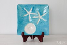 Handmade Ceramic Starfish Platter, Aqua [Medium]