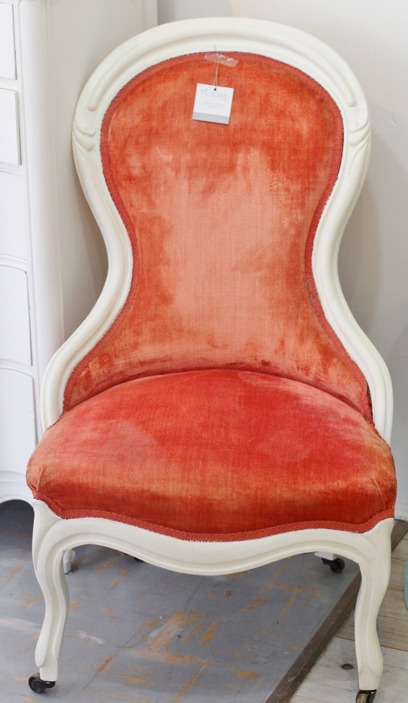 Strawberry U0026 Cream Antique Victorian Parlor Chair