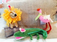 lion alligator and flamingo