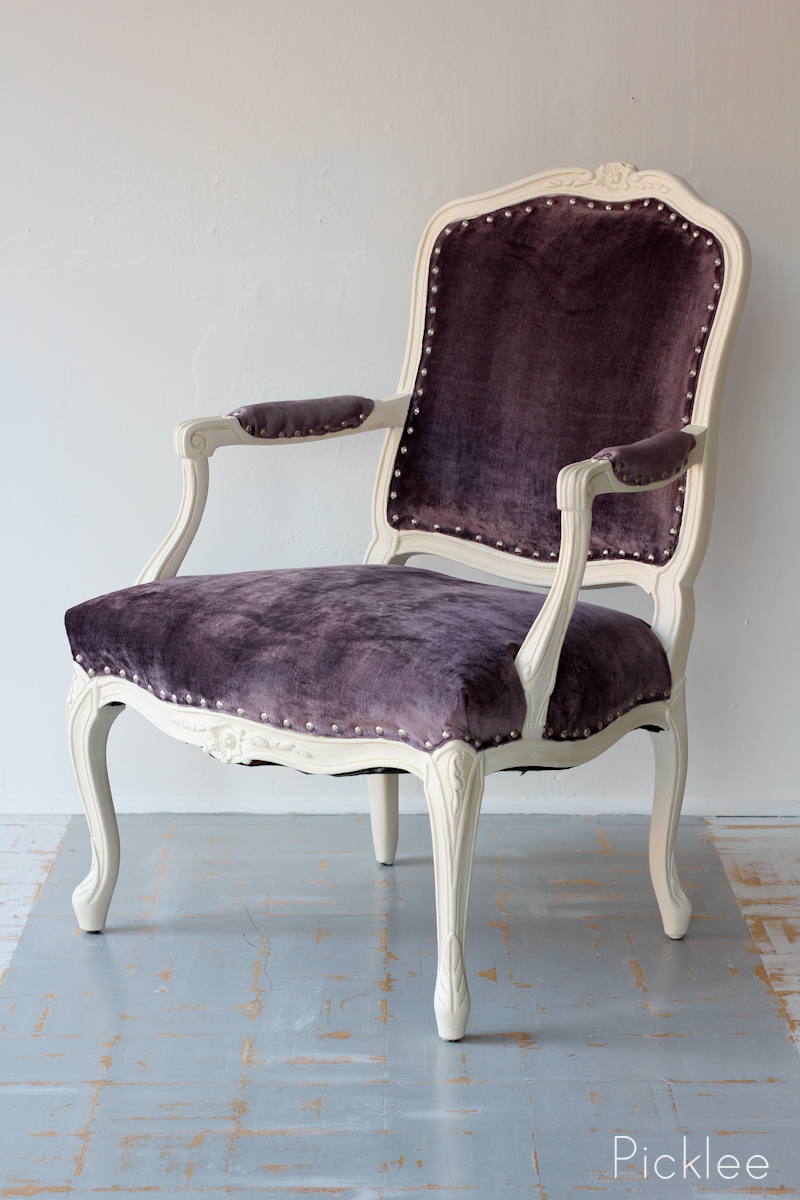 Eggplant chenille louis xv arm chair picklee on spring