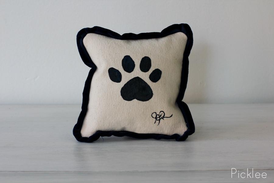 Hand Painted Black Paw Print Pillow By Jennifer Rashleigh