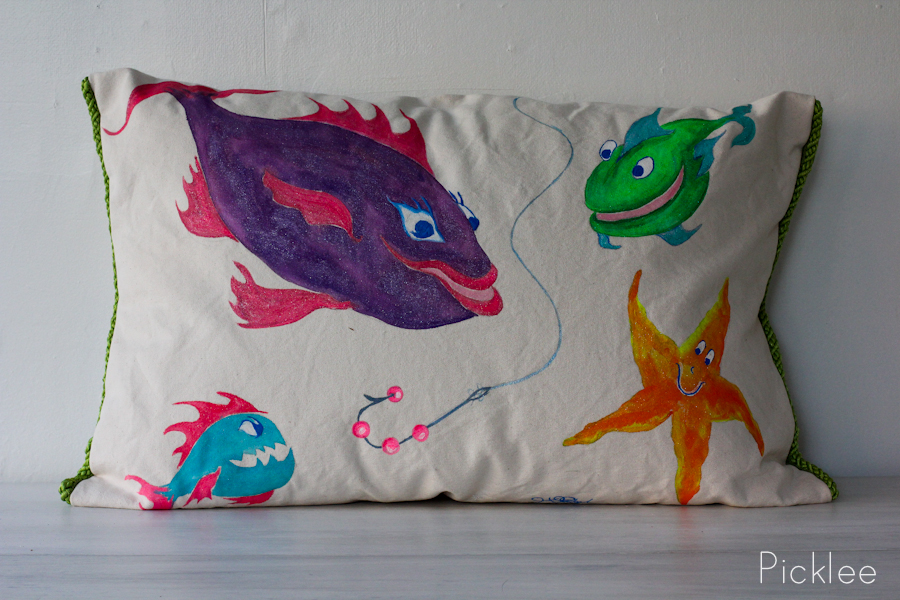 Hand Painted Childrens Quot Under The Sea Quot Pillow Fish