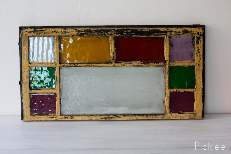 Antique Stained Glass Window Red Yellow Purple Blocks
